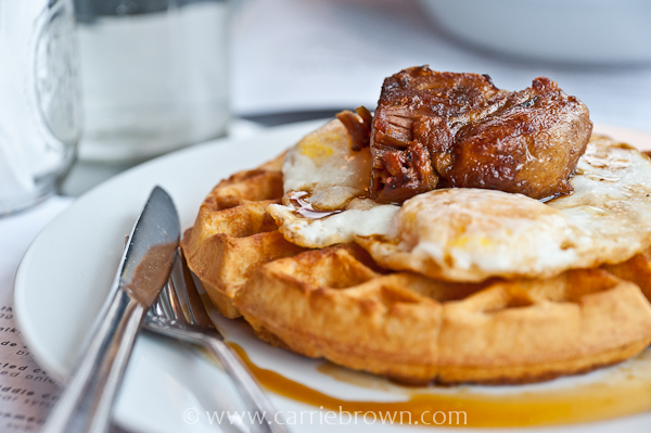 Pork Belly & Cornmeal Waffles at Skillet Diner, Seattle