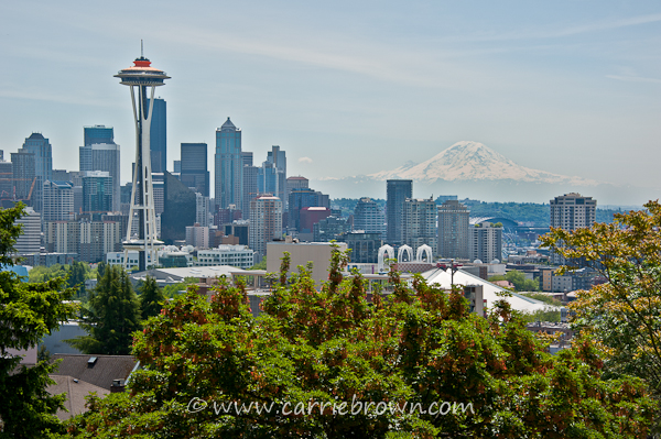 Seattle Skyline with the Space Needle and Mount Rainier
