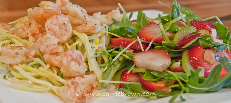 Grilled Lemon Prawns with Coconut Cream Squash Noodles and Strawberry Pea Shoot Salad