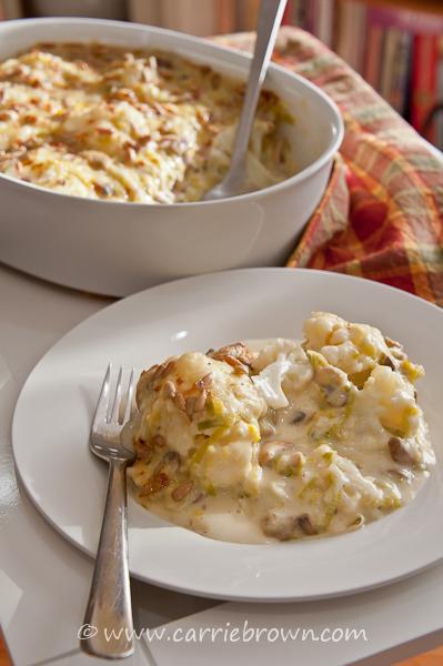 Leek, Mushroom, and Cauliflower Casserole  |  Carrie Brown